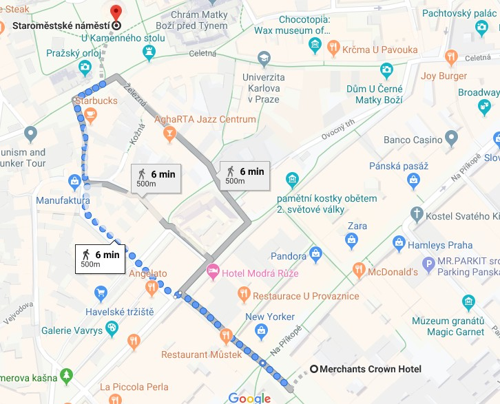 Now the distance between the Old Town Square and the Wenceslas square is only 500 meters.